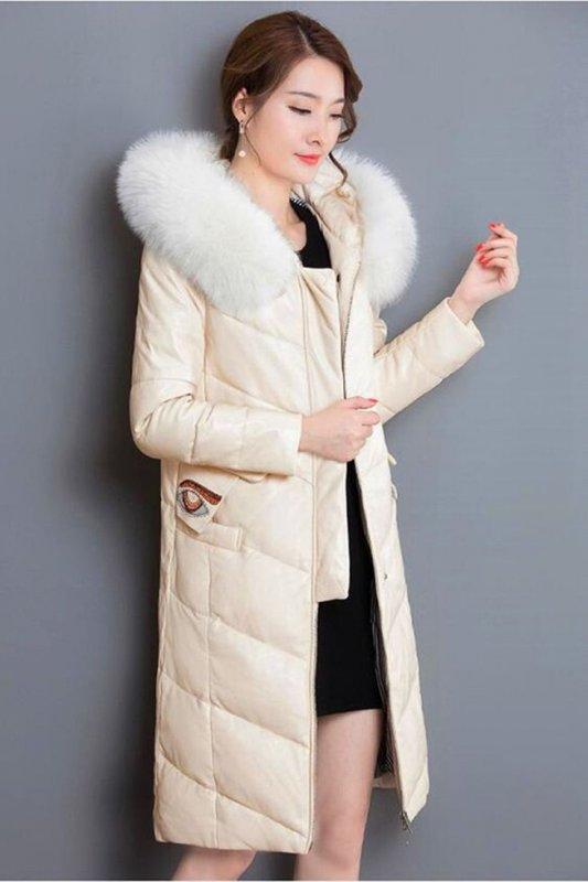 Теплые зимние кожанные куртки- пальто с меховым воротником и капюшоном (кожа ягненка)