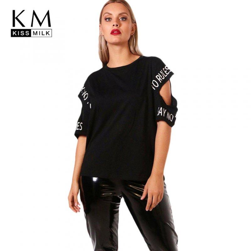 Модная футболка с принтом букв больших размеров.