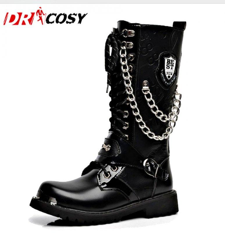 Кожаные сапоги высокого качества для мужчин-(Мода Панк Martin) (Британский Стиль)
