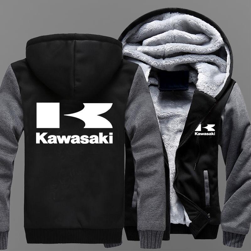 Мотоциклетные зимние, кашемировые, толстые, теплые толстовки с капюшоном-(Kawasaki)