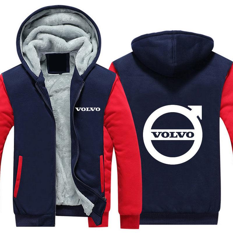 Мотоциклетные зимние, кашемировые, толстые, теплые толстовки с капюшоном-(Volvo)