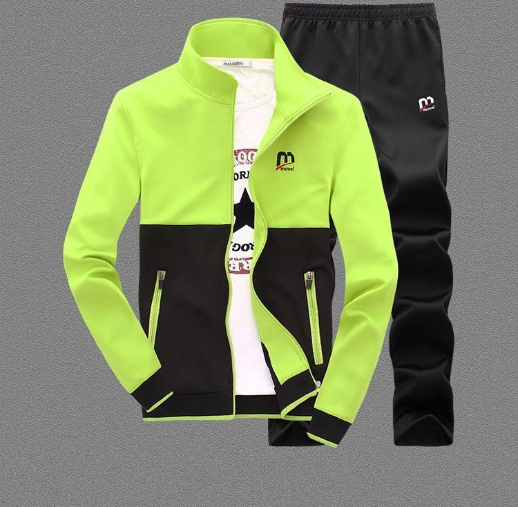 Мужские модные спортивные костюмы с длинным рукавом со змейкой-(набор)-куртка + брюки.