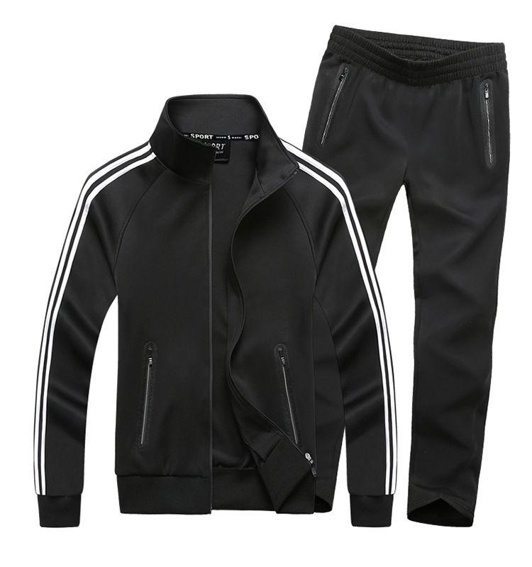 1cc6ae6ae0cc Мужские модные спортивные костюмы с длинным рукавом со  змейкой-(набор)-куртка + ...
