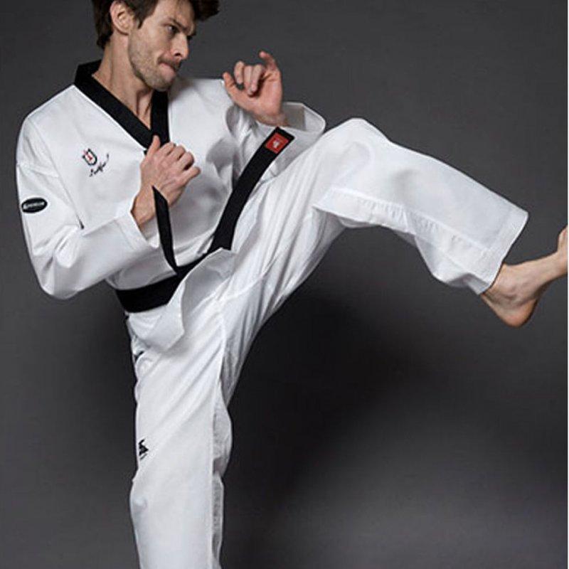 Спортивный белый костюм для тхэквондо-(дышащий хлопок) утвержден тхэквондо