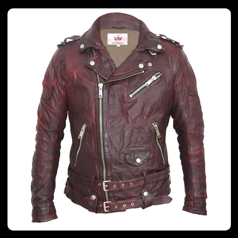 Байкерская дубленая кожаная куртка для мужчин-(панк-рок).