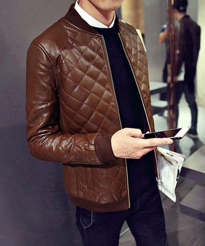Брендовые кожаные куртки-бомбер для мужчин-(Шотландка)