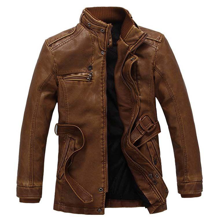 Водонепроницаемая теплая кожаная зимняя куртка для мужчин-(Кожа Ягненка)