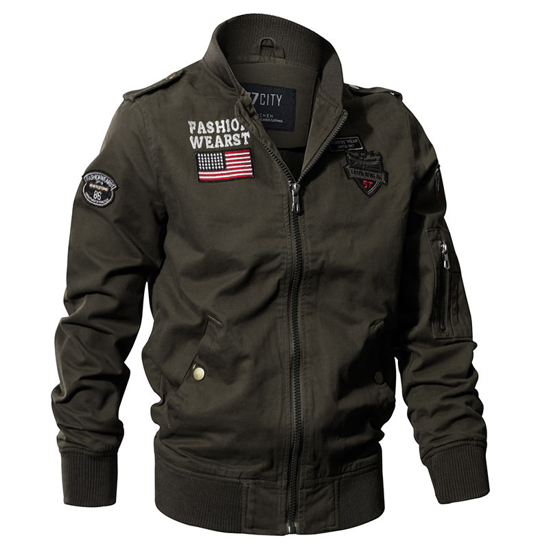 Военная униформа стиль-(Airborne) куртка пилота для мужчин-(флаг США).