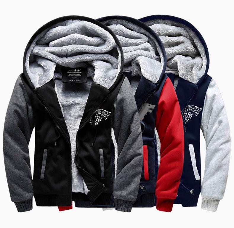 Зимние теплые, спортивные костюмы-толстовки-(Игра престолов House STARK) для мужчин с капюшоном.