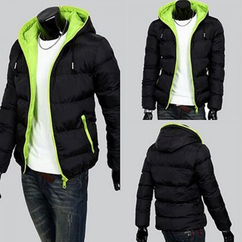 Зимняя стеганая куртка для мужчин с капюшоном на молнии.