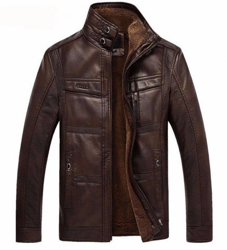 Кожаная зимняя куртка на меху для мужчин высокого качества