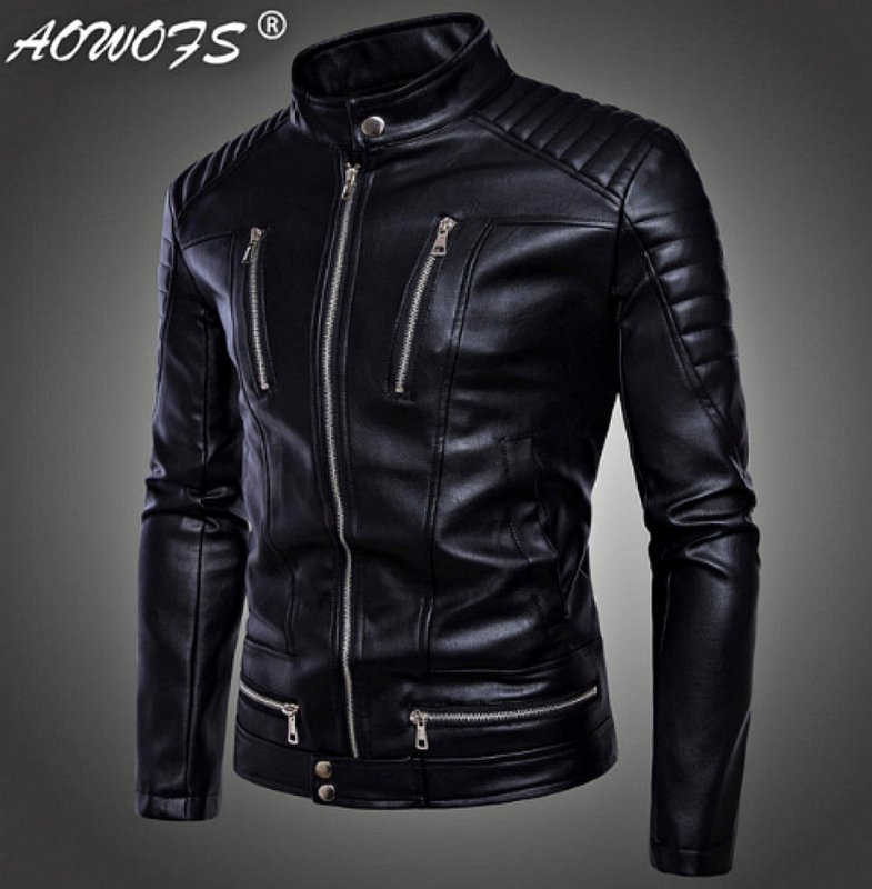 Кожаная куртка-(бомбер) для мужчин британский стиль.