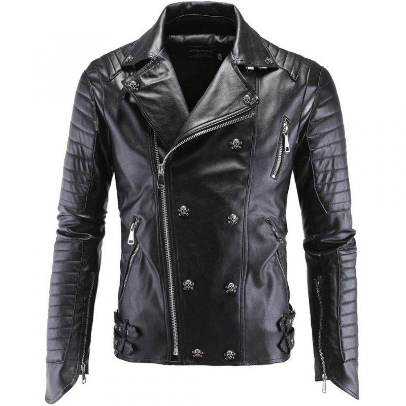 Модные, байкерские кожаные куртки-(мото череп)-британский стиль