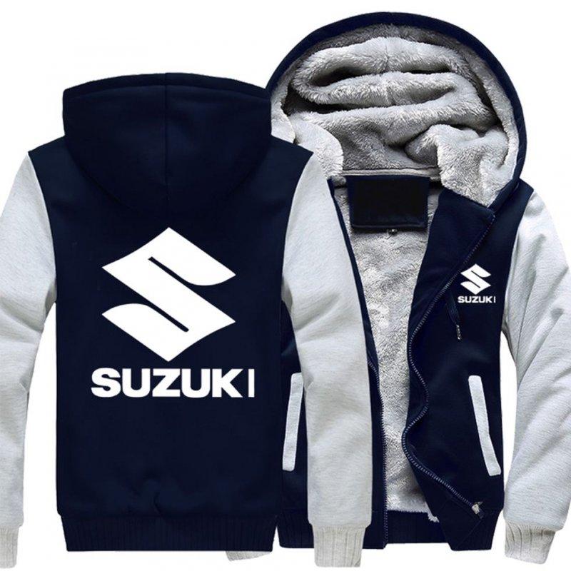 Мотоциклетные зимние, кашемировые, толстые, теплые толстовки с капюшоном-(Suzuki)
