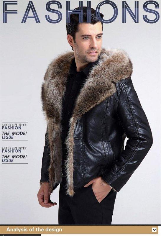 Мужская зимняя кожаная куртка-(натуральный мех енота с капюшоном.