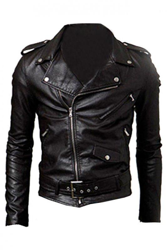 Мужская мотоциклетная байкерская куртка из кожи стиле панк.