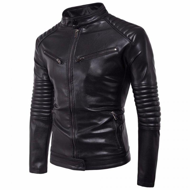 Мужские кожаные куртки-(мотоцикл байкер).