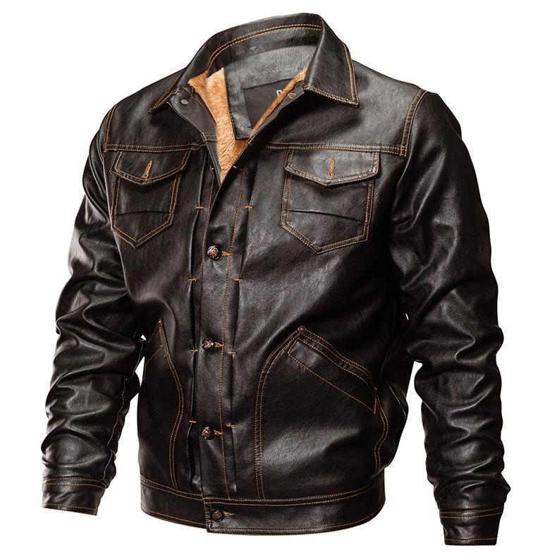 Тактическая кожаная Военная Униформа куртка-(бомбер) армии США.