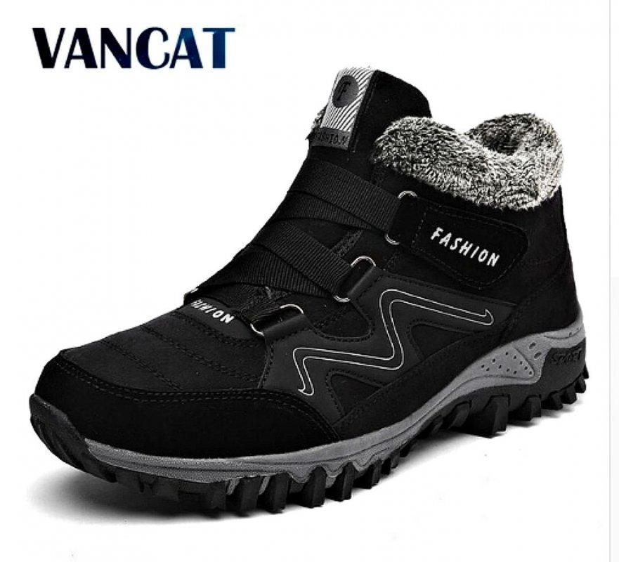 Зимние теплые меховые мужские ботинки-(Vancat)