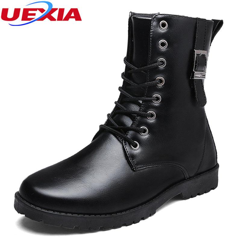 Модные зимние, теплые, кожаные мужские ботинки-(High-cut).