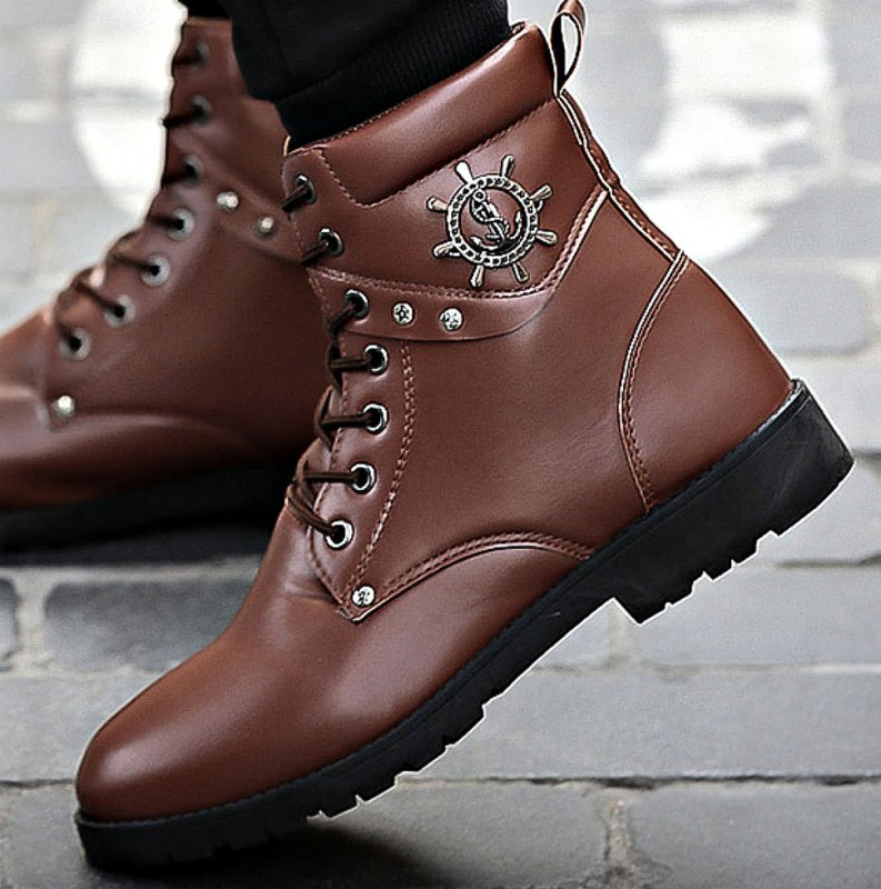 Модные, мягкие, высокие мужские ботинки из натуральной кожи