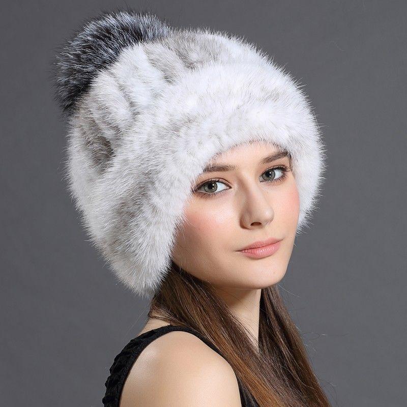 Вязаныеженские шапки с натурального лисьего и меха норки.