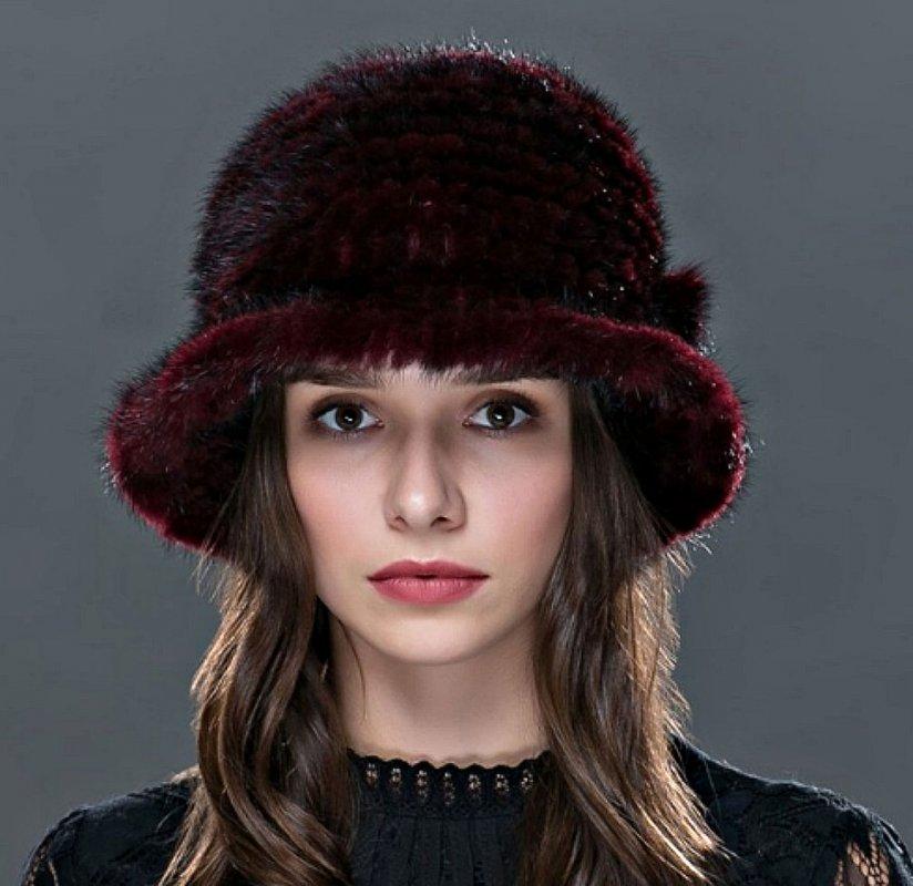 Женские теплые шапки из норки.