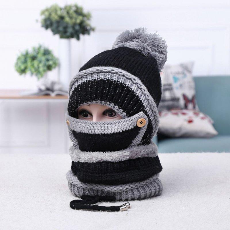 Зимняя, вязаная, шерстяная шапка шарф спомпоном.