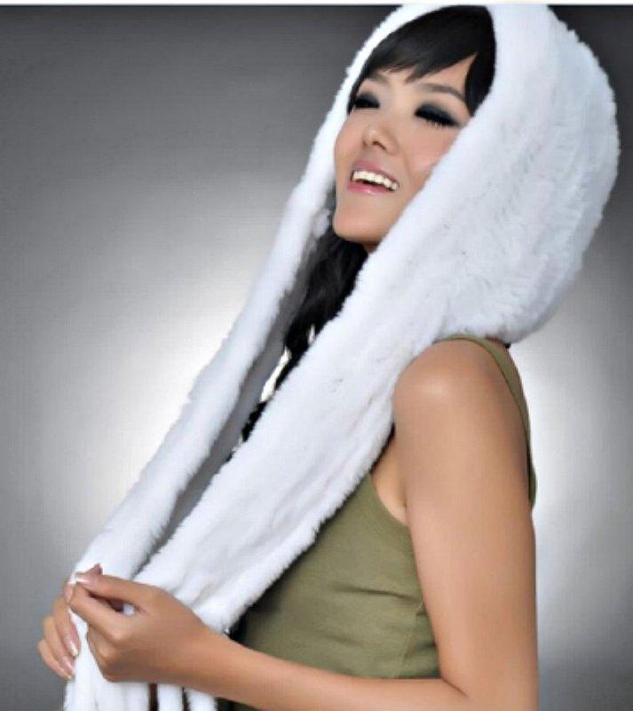 Купить Теплая шапка-шарф из кролика