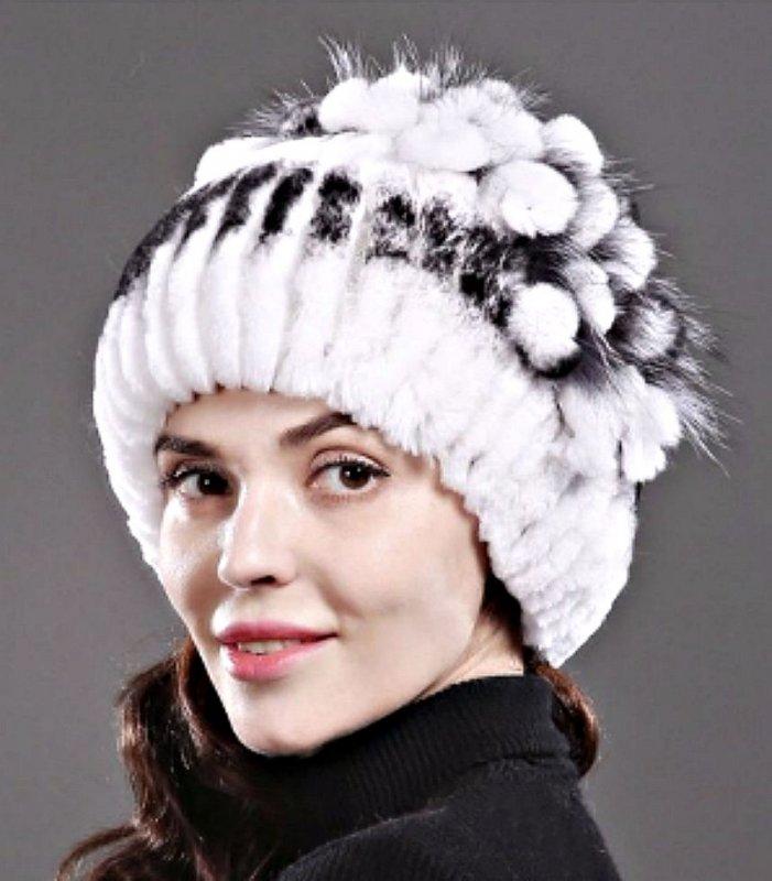 Эластичные, трикотажные женские шапочки с натуральным с мехом кролика.