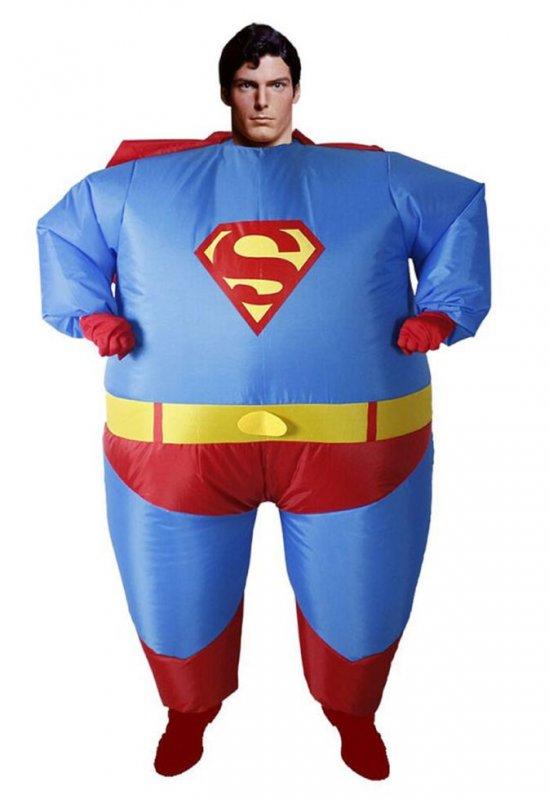 """Карнавальный надувной костюм для взрослых-\""""Супермена\"""""""