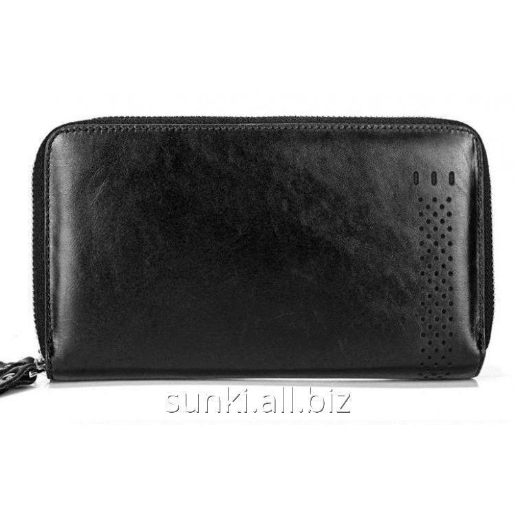 1fec5a817cdc Мужской клатч портмоне MS COLLECTION MS013B Мужской кожаный клатч портмоне  на 2 молнии, Черный (