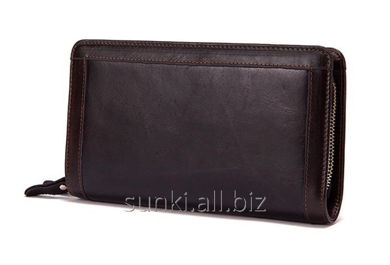 dde8548e4df2 Мужской клатч портмоне MS COLLECTION MS005B Мужской кожаный клатч портмоне  на 2 молнии, Коричневый (SUN0456)