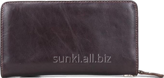 8e3c66f86955 Мужской клатч портмоне MS COLLECTION MS015B Мужской кожаный клатч портмоне  на молнии, Коричневый (SUN0457)