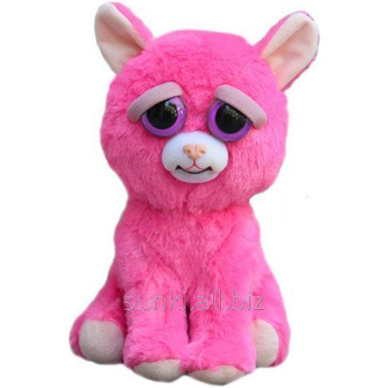 Interactive Toy Feisty Pets Good Evil Animals Plush Pink Cat 20 Cm