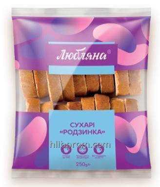 """Сухари с изюмом ТМ """"Любляна"""" упаковка 0,250 4 кг"""