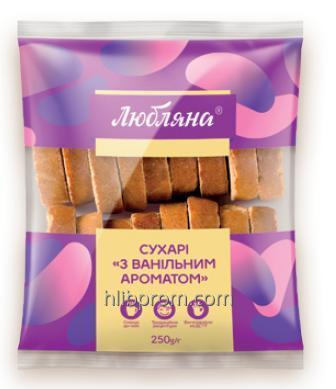 """Сухари ванильные ТМ """"Люблянна"""" упаковка 0,250/4 кг"""