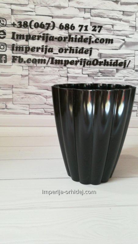 Кашпо для Орхидей Ромашка,черный d140mm