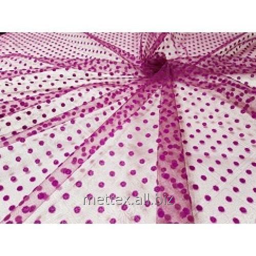 Купить Еврофатин (Флок) горошки бархат цвет - фиолет № 425