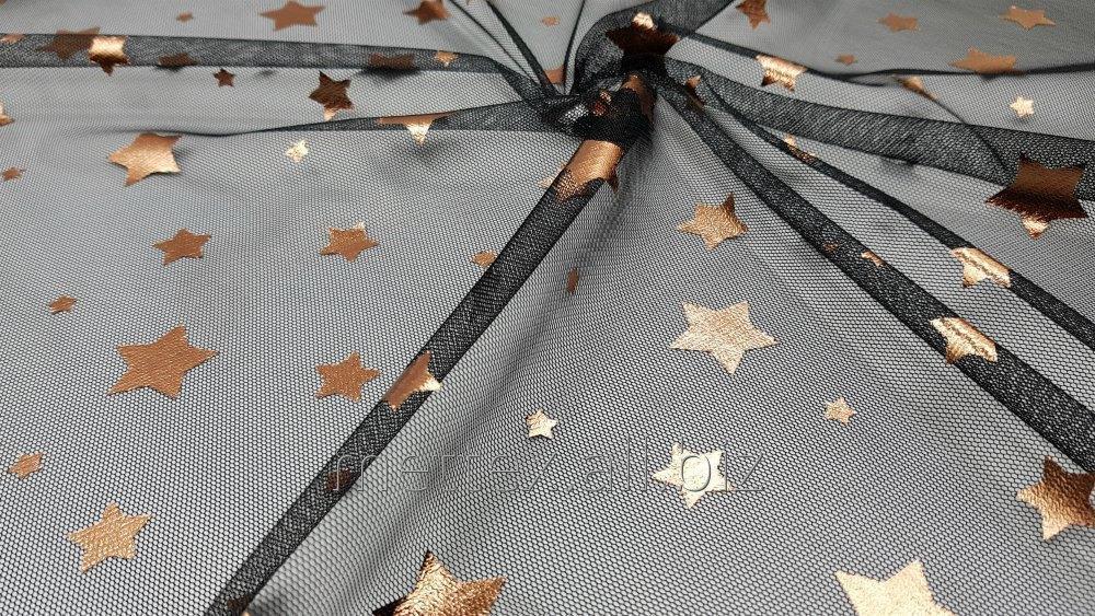 Купить Евросетка звезда фольгированная - цвет черный / бронза № 418