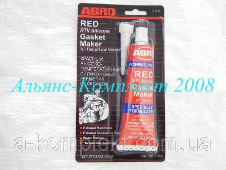 Герметик АБРО (ABRO) (красный, силиконовый, прокладок, высоко-температурный)