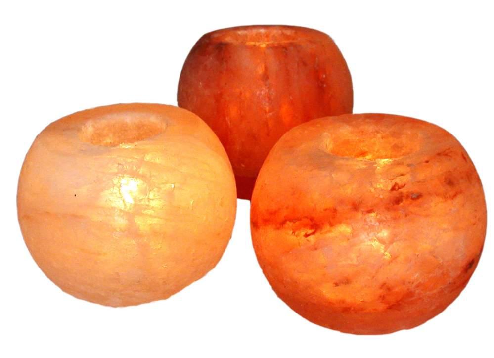 Подсвечник из розовой гималайской соли в форме шара
