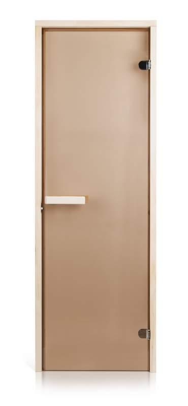 Стеклянная дверь для бани и сауны Intercom прозрачная бронза 70/190 липа