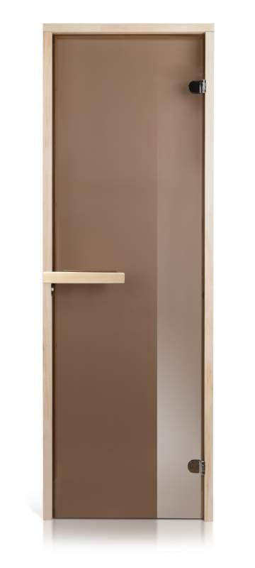 Стеклянная дверь для бани и сауны Intercom прозрачная бронза/магнит 70/200 липа