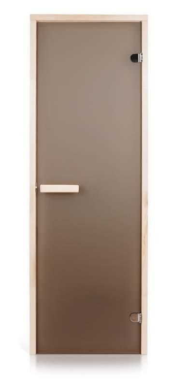 Стеклянная дверь для бани и сауны Intercom матовая бронза 70/190 липа