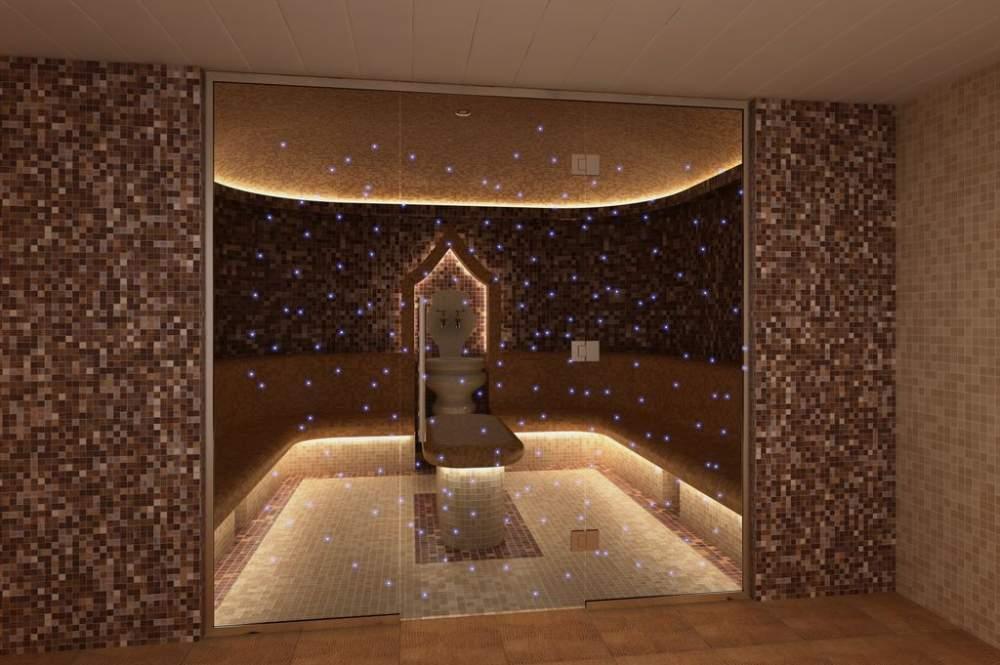 Стеклянная перегородка в сауну и турецкую баню со светодиодами