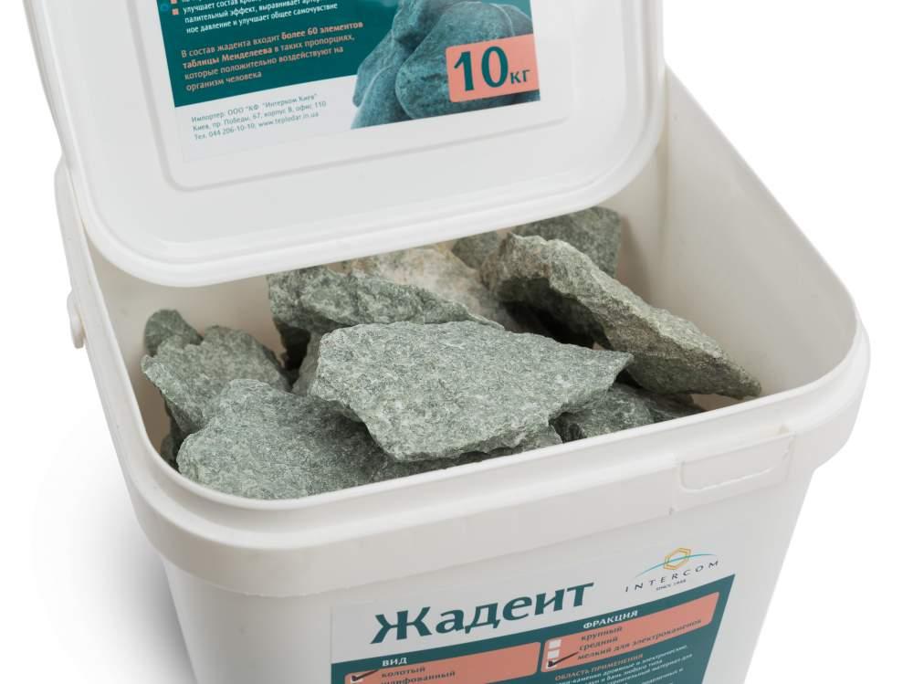 Камень жадеит колотый средний, ведро 10 кг для электрокаменки