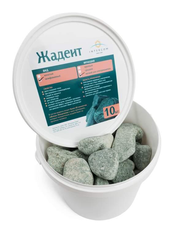 Камень жадеит шлифованный средний, ведро 10 кг для электрокаменки