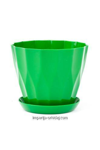 Горшок Карат, с подставкой, зелёный d130 mm