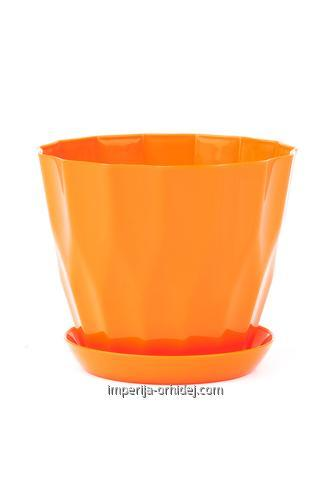 Горшок Карат с подставкой, оранжевый, d130 mm